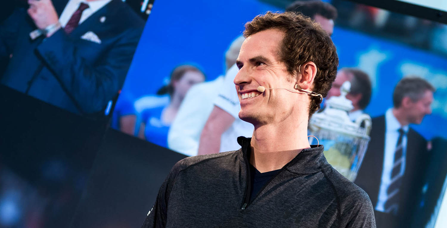 Andy Murray speaking at a Standard Life corporate event